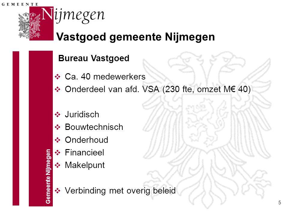 Gemeente Nijmegen 5 Vastgoed gemeente Nijmegen v Ca. 40 medewerkers v Onderdeel van afd. VSA (230 fte, omzet M€ 40) v Juridisch v Bouwtechnisch v Onde