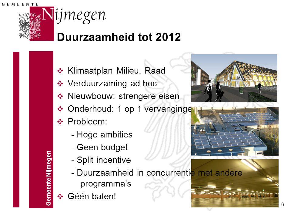 Gemeente Nijmegen 6 Duurzaamheid tot 2012 v Klimaatplan Milieu, Raad v Verduurzaming ad hoc v Nieuwbouw: strengere eisen v Onderhoud: 1 op 1 vervangin