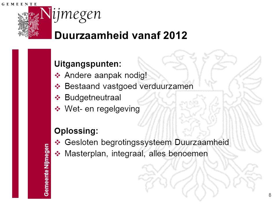 Gemeente Nijmegen 8 Duurzaamheid vanaf 2012 Uitgangspunten: v Andere aanpak nodig! v Bestaand vastgoed verduurzamen v Budgetneutraal v Wet- en regelge
