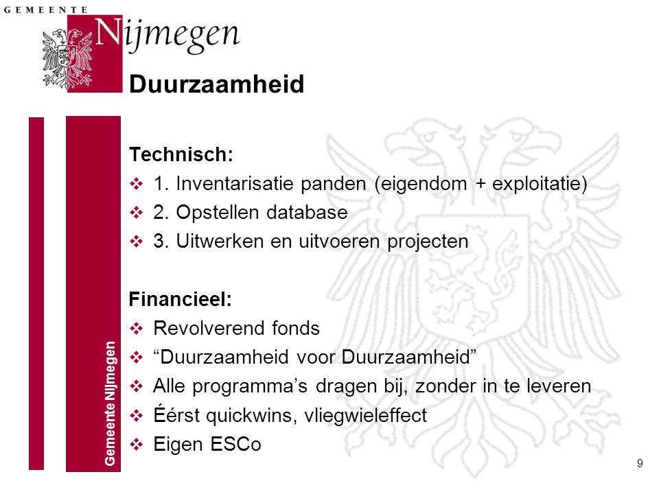 Gemeente Nijmegen 9 Technisch: v 1. Inventarisatie panden (eigendom + exploitatie) v 2. Opstellen database v 3. Uitwerken en uitvoeren projecten Finan