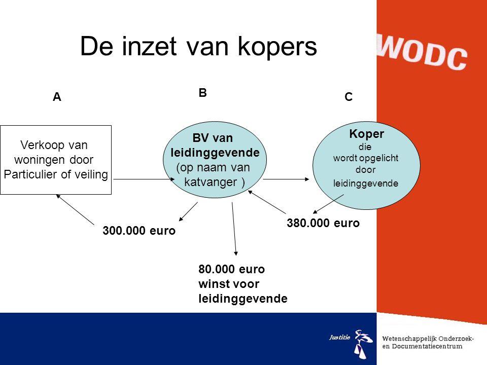 De inzet van kopers Verkoop van woningen door Particulier of veiling BV van leidinggevende (op naam van katvanger ) Koper die wordt opgelicht door lei