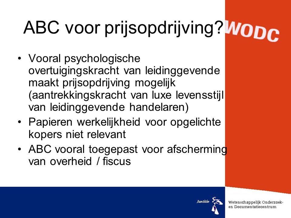 ABC voor prijsopdrijving? •Vooral psychologische overtuigingskracht van leidinggevende maakt prijsopdrijving mogelijk (aantrekkingskracht van luxe lev