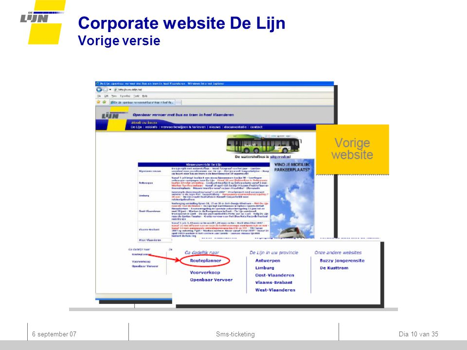 6 september 07Sms-ticketing Dia 10 van 35 Corporate website De Lijn Vorige versie