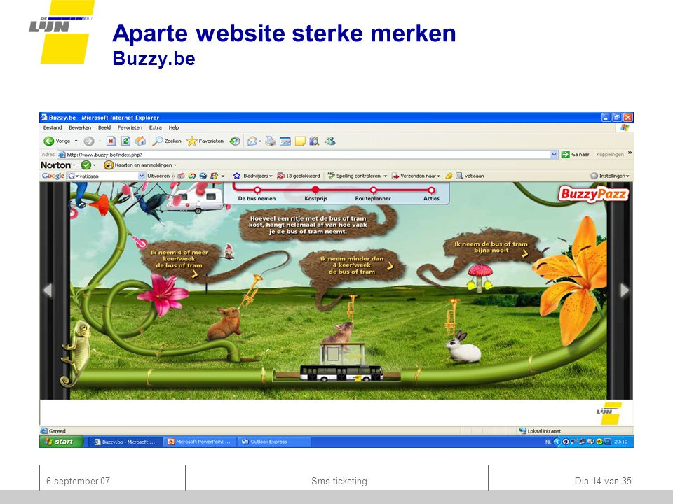 6 september 07Sms-ticketing Dia 14 van 35 Aparte website sterke merken Buzzy.be