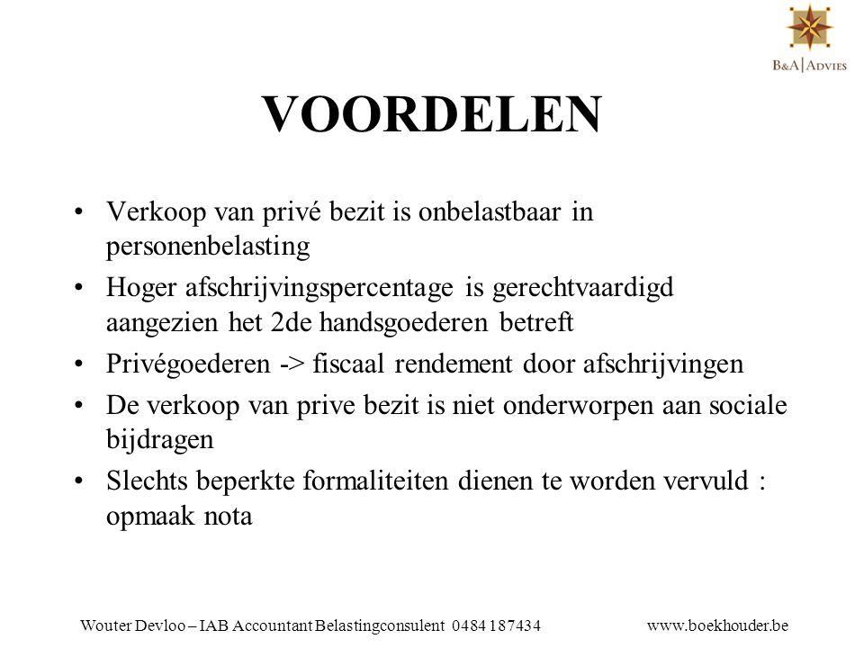 Wouter Devloo – IAB Accountant Belastingconsulent 0484 187434 www.boekhouder.be NADELEN •Vermits de vennootschap geen nieuwe goederen aankoopt verliest zij haar recht op een investeringsaftrek
