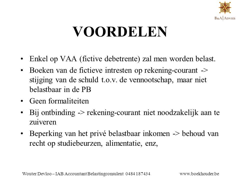 Wouter Devloo – IAB Accountant Belastingconsulent 0484 187434 www.boekhouder.be AANTEKENINGEN •De gemiddelde stand :  de begin- en eindstand op te tellen en vervolgens te delen door twee.