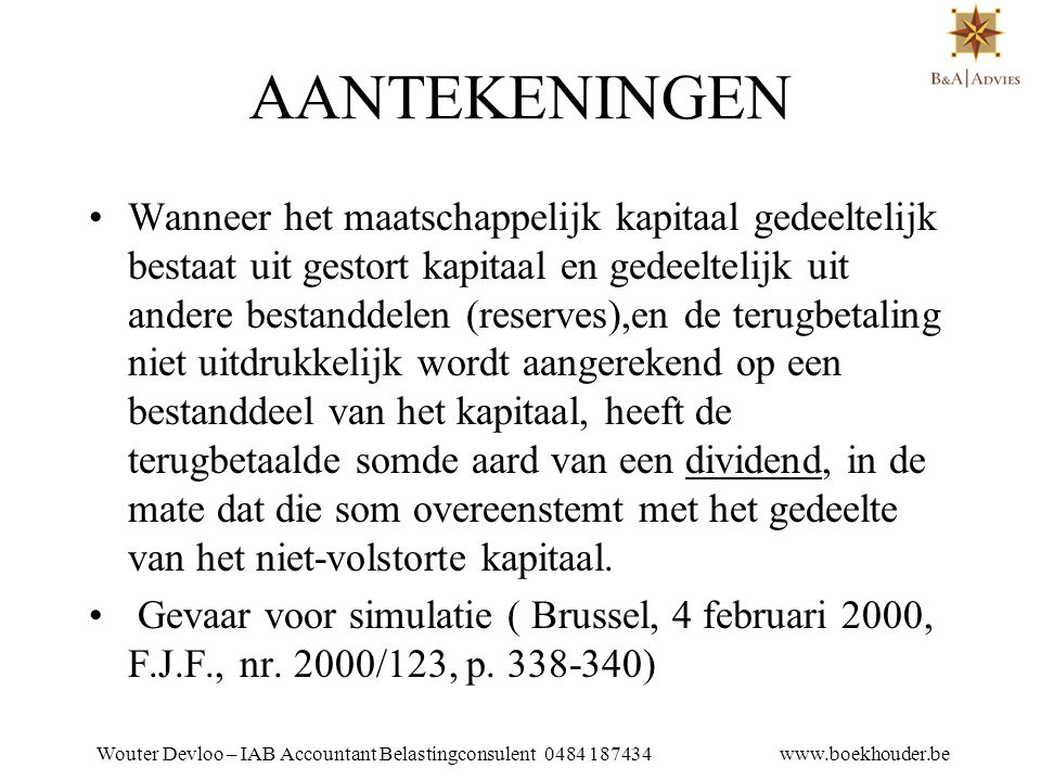 Wouter Devloo – IAB Accountant Belastingconsulent 0484 187434 www.boekhouder.be 18.