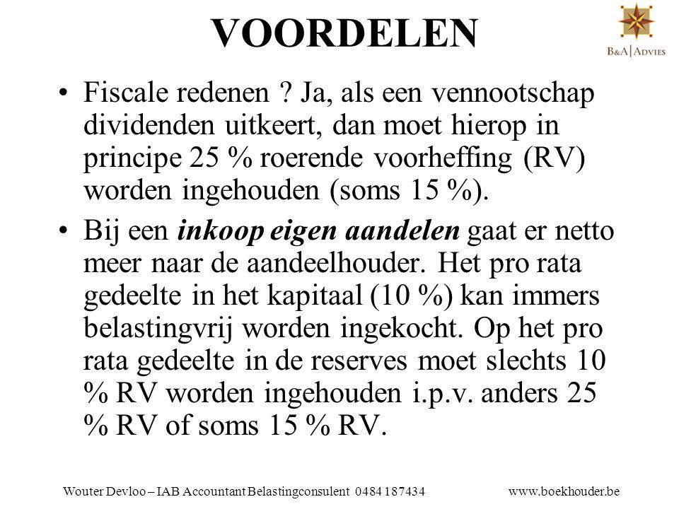 Wouter Devloo – IAB Accountant Belastingconsulent 0484 187434 www.boekhouder.be AANTEKENINGEN • Indien inkoop niet in overeenstemming W.Venn.