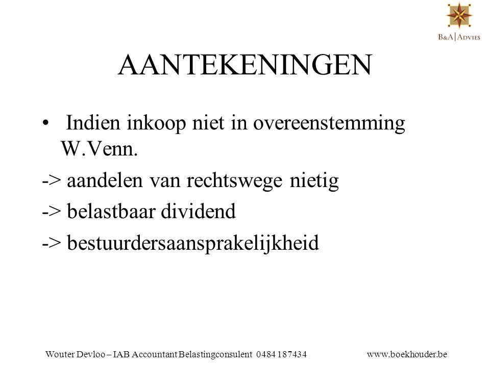 Wouter Devloo – IAB Accountant Belastingconsulent 0484 187434 www.boekhouder.be 19.