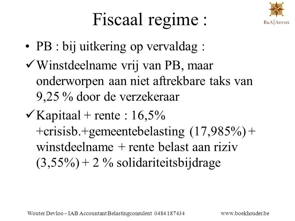 Wouter Devloo – IAB Accountant Belastingconsulent 0484 187434 www.boekhouder.be VERSCHIL BLV /GPVZK •Bij een BLV wordt bij uitkering het volledige bedrag belast aan het tarief van 16,5 %.
