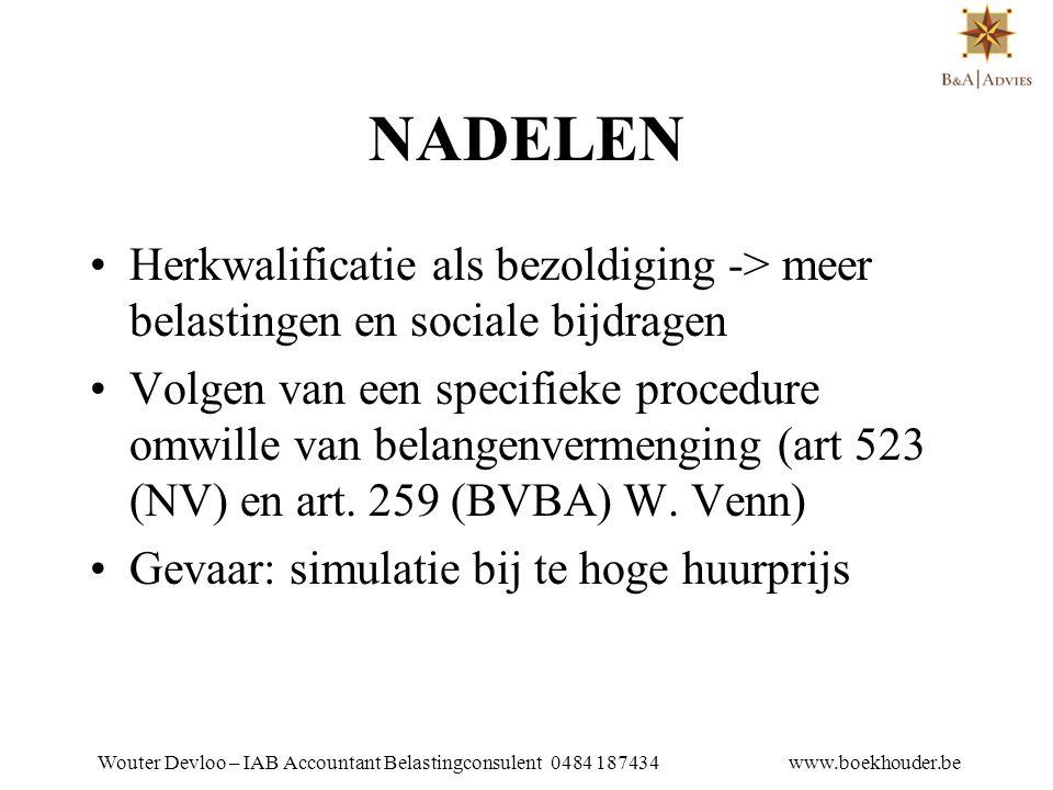 Wouter Devloo – IAB Accountant Belastingconsulent 0484 187434 www.boekhouder.be 10.