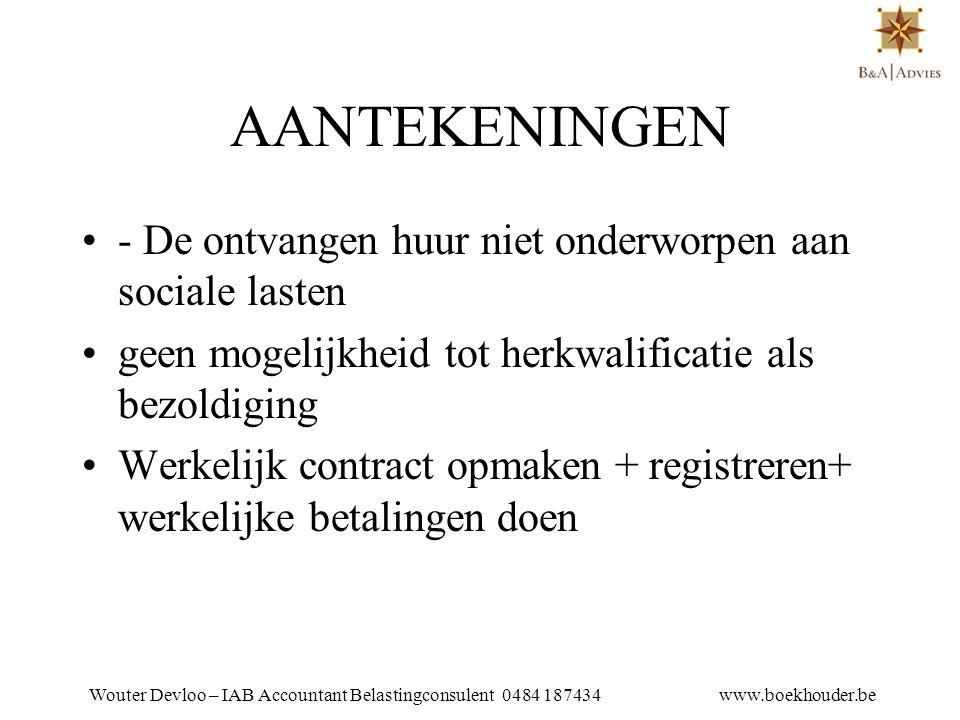 Wouter Devloo – IAB Accountant Belastingconsulent 0484 187434 www.boekhouder.be 11.