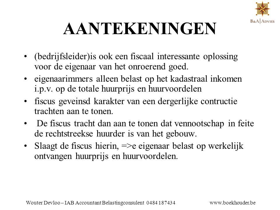 Wouter Devloo – IAB Accountant Belastingconsulent 0484 187434 www.boekhouder.be 13.