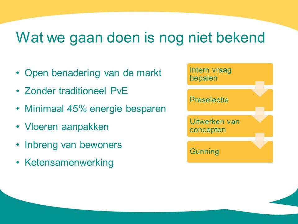 Wat we gaan doen is nog niet bekend • Open benadering van de markt • Zonder traditioneel PvE • Minimaal 45% energie besparen • Vloeren aanpakken • Inb