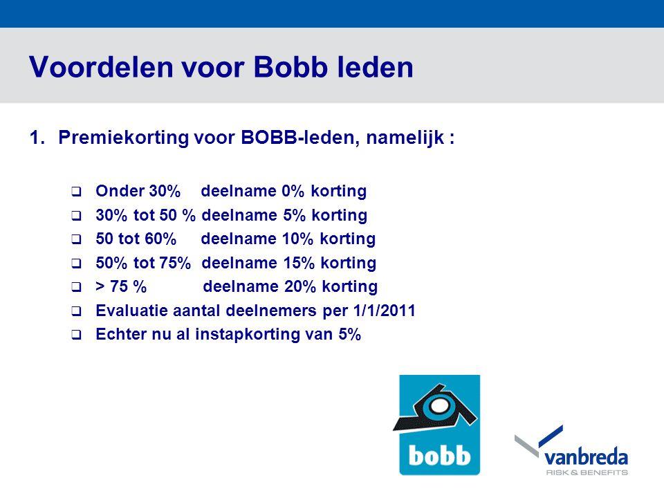 Voordelen voor Bobb leden 1.Premiekorting voor BOBB-leden, namelijk :  Onder 30% deelname 0% korting  30% tot 50 % deelname 5% korting  50 tot 60% deelname 10% korting  50% tot 75% deelname 15% korting  > 75 % deelname 20% korting  Evaluatie aantal deelnemers per 1/1/2011  Echter nu al instapkorting van 5%