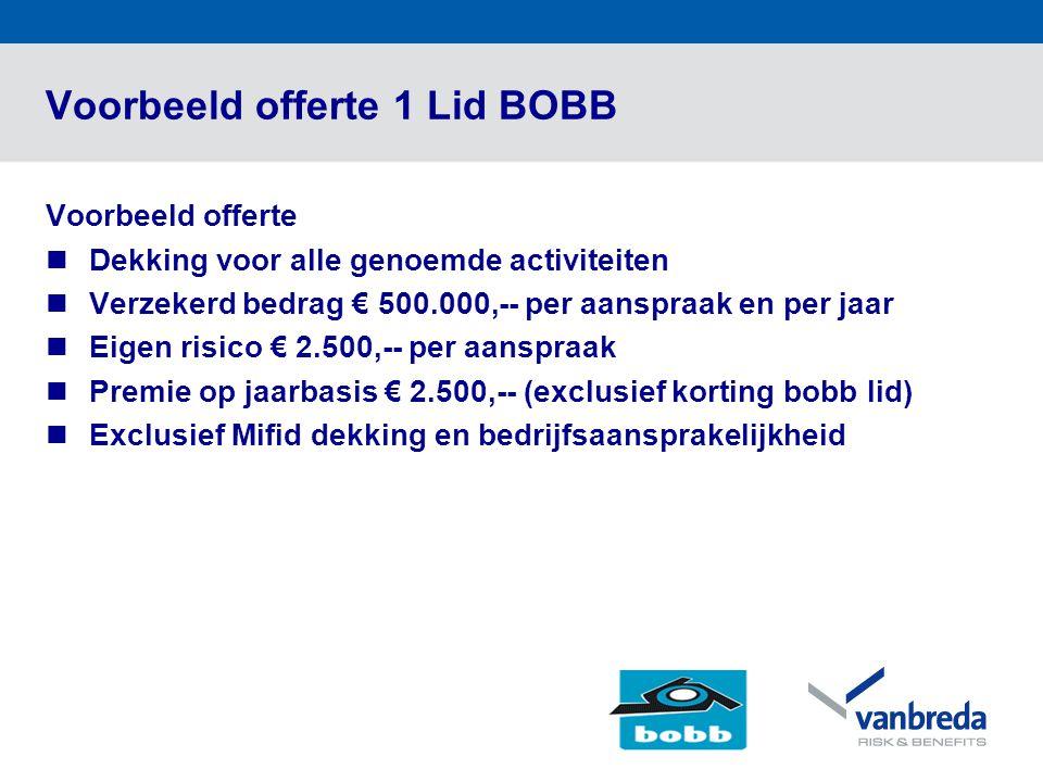 Voorbeeld offerte 1 Lid BOBB Voorbeeld offerte  Dekking voor alle genoemde activiteiten  Verzekerd bedrag € 500.000,-- per aanspraak en per jaar  E