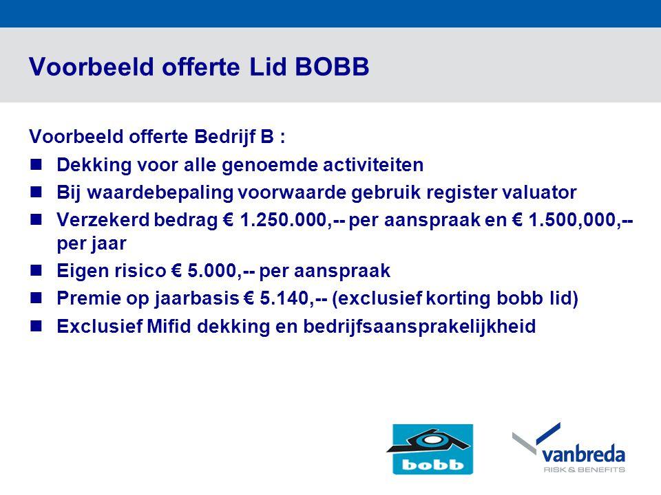 Voorbeeld offerte Lid BOBB Voorbeeld offerte Bedrijf B :  Dekking voor alle genoemde activiteiten  Bij waardebepaling voorwaarde gebruik register valuator  Verzekerd bedrag € 1.250.000,-- per aanspraak en € 1.500,000,-- per jaar  Eigen risico € 5.000,-- per aanspraak  Premie op jaarbasis € 5.140,-- (exclusief korting bobb lid)  Exclusief Mifid dekking en bedrijfsaansprakelijkheid