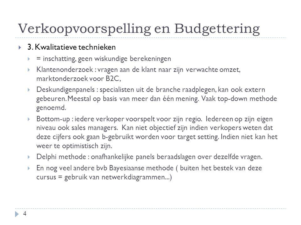 Verkoopvoorspelling en Budgettering  3. Kwalitatieve technieken  = inschatting, geen wiskundige berekeningen  Klantenonderzoek : vragen aan de klan