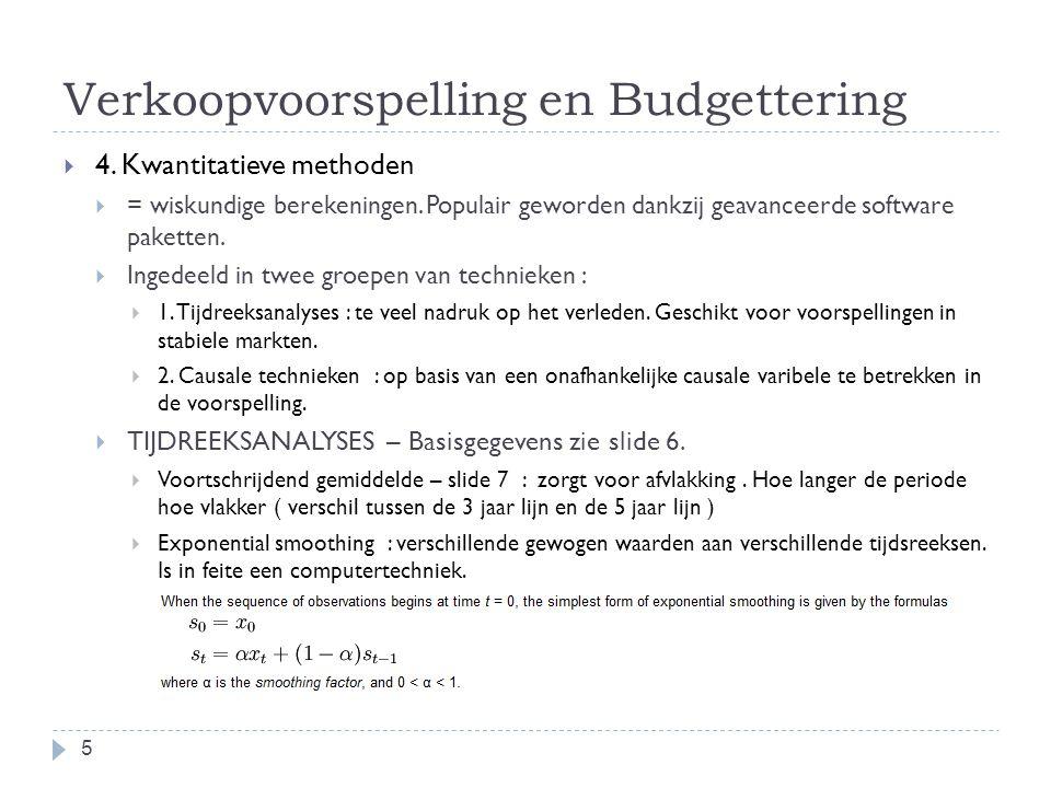 Verkoopvoorspelling en Budgettering  4. Kwantitatieve methoden  = wiskundige berekeningen. Populair geworden dankzij geavanceerde software paketten.
