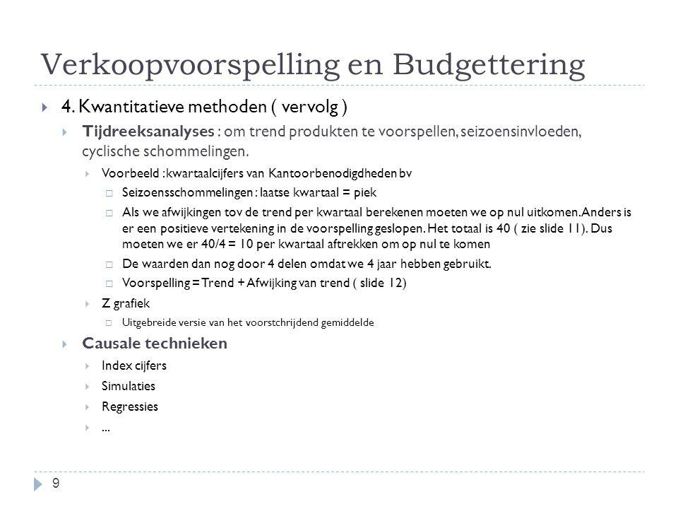 Verkoopvoorspelling en Budgettering  4. Kwantitatieve methoden ( vervolg )  Tijdreeksanalyses : om trend produkten te voorspellen, seizoensinvloeden
