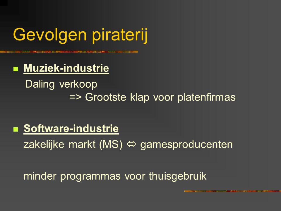 Gevolgen piraterij  Muziek-industrie Daling verkoop => Grootste klap voor platenfirmas  Software-industrie zakelijke markt (MS)  gamesproducenten m