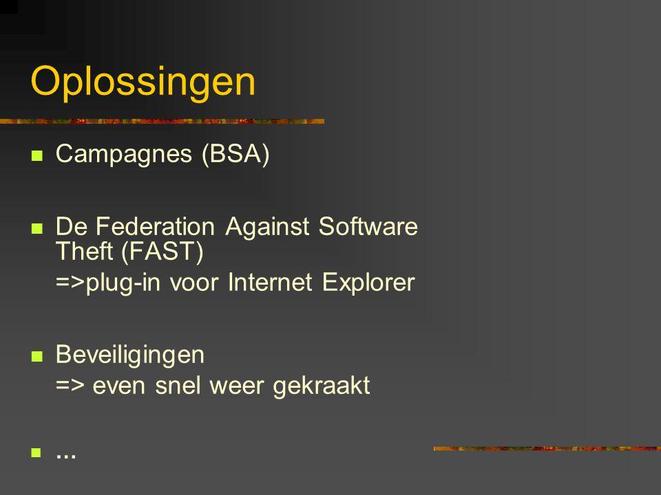 Oplossingen  Campagnes (BSA)  De Federation Against Software Theft (FAST) =>plug-in voor Internet Explorer  Beveiligingen => even snel weer gekraak