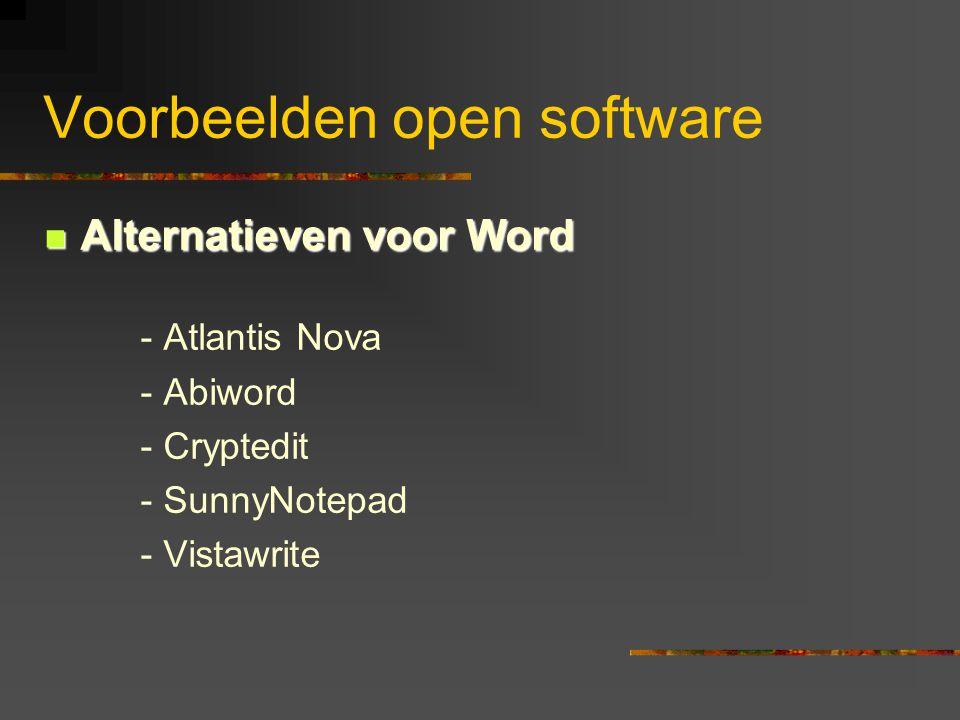  Alternatieven voor Word - Atlantis Nova - Abiword - Cryptedit - SunnyNotepad - Vistawrite Voorbeelden open software