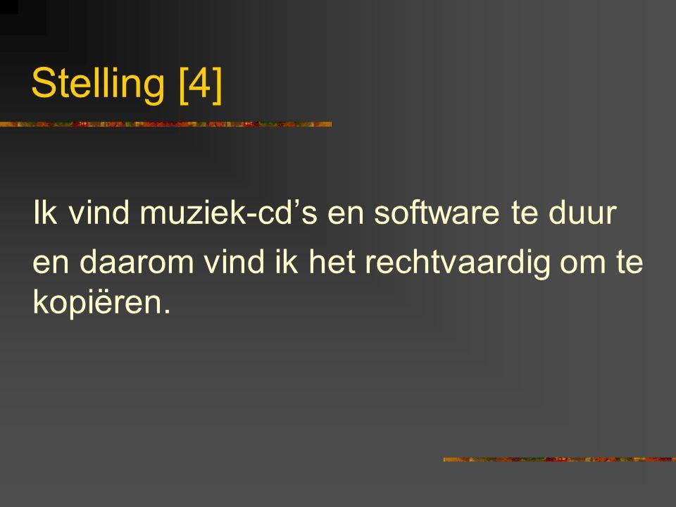Stelling [4] Ik vind muziek-cd's en software te duur en daarom vind ik het rechtvaardig om te kopiëren.