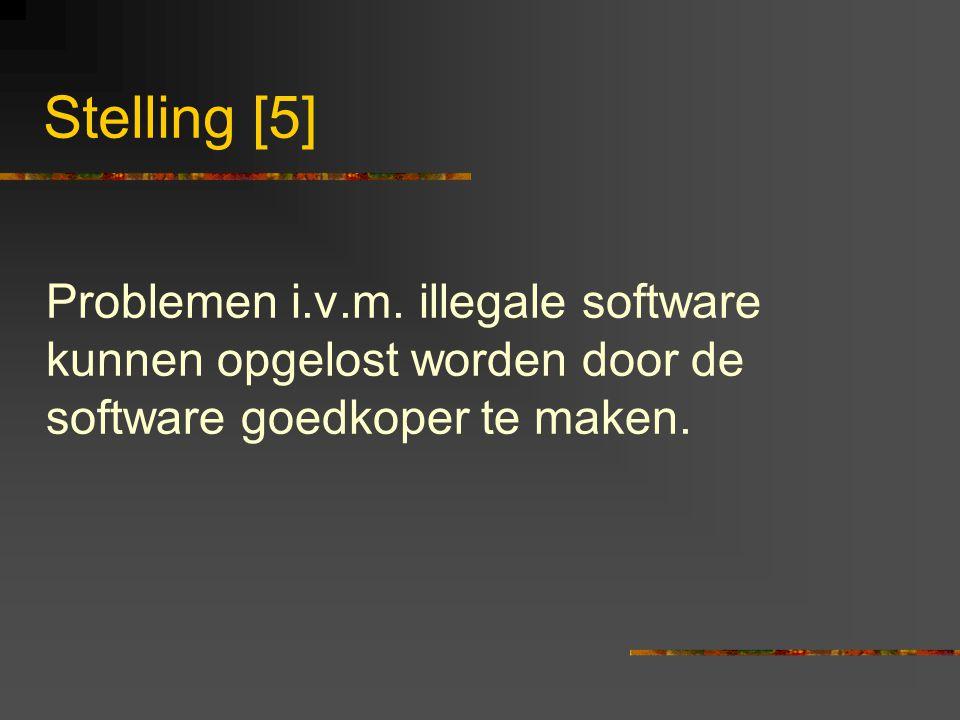 Stelling [5] Problemen i.v.m. illegale software kunnen opgelost worden door de software goedkoper te maken.