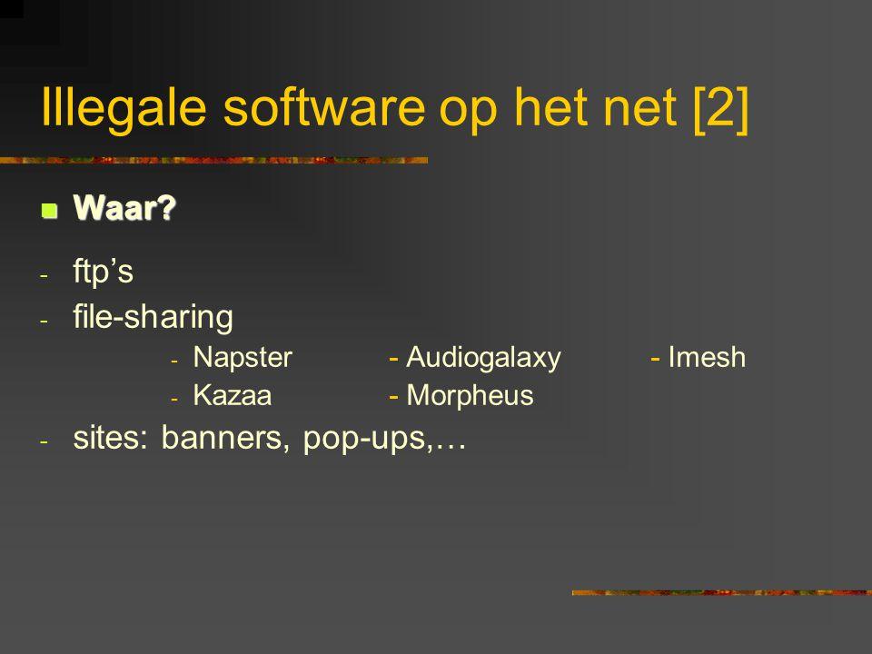 Illegale software op het net [2]  Waar? - ftp's - file-sharing - Napster- Audiogalaxy- Imesh - Kazaa- Morpheus - sites: banners, pop-ups,…