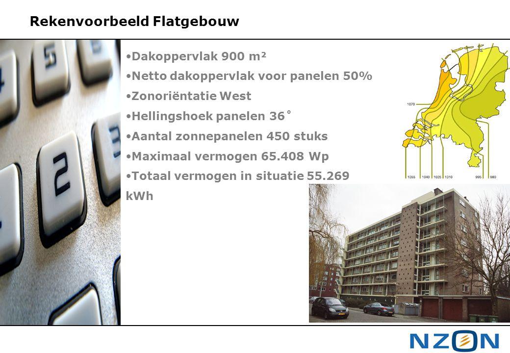 •Dakoppervlak 900 m² •Netto dakoppervlak voor panelen 50% •Zonoriëntatie West •Hellingshoek panelen 36˚ •Aantal zonnepanelen 450 stuks •Maximaal vermo