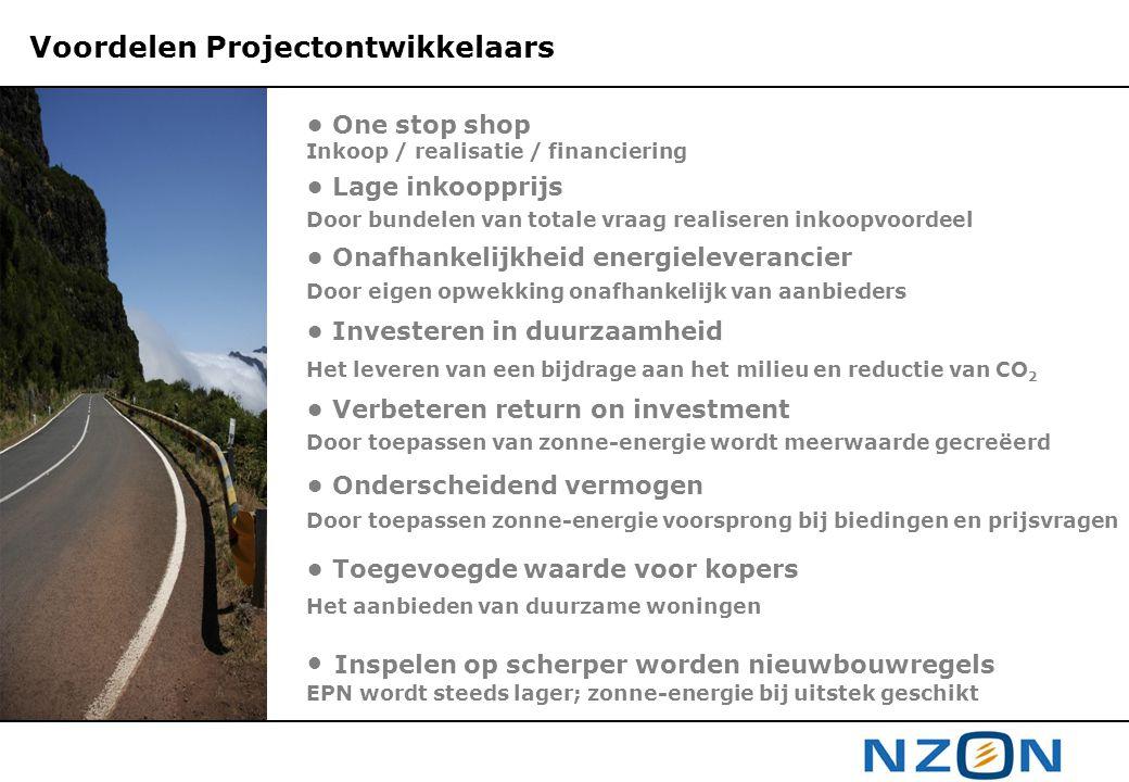 Voordelen Projectontwikkelaars • One stop shop Inkoop / realisatie / financiering • Lage inkoopprijs Door bundelen van totale vraag realiseren inkoopv