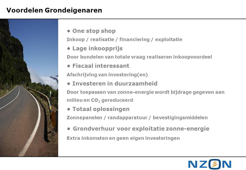 Voordelen Grondeigenaren • One stop shop Inkoop / realisatie / financiering / exploitatie • Lage inkoopprijs Door bundelen van totale vraag realiseren