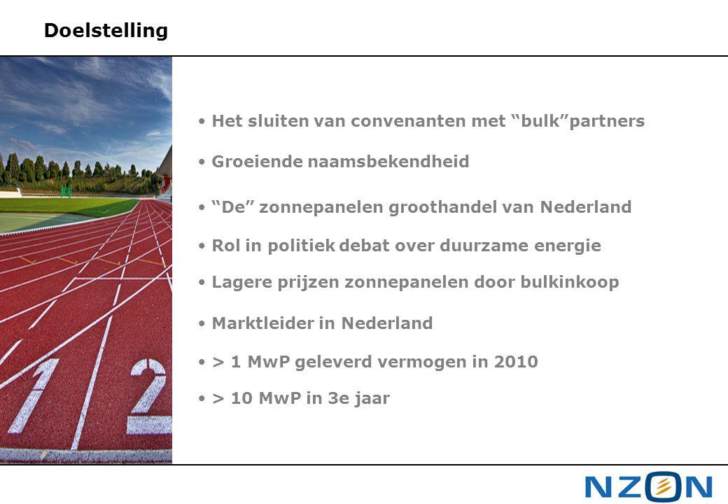 """Doelstelling • Het sluiten van convenanten met """"bulk""""partners • Groeiende naamsbekendheid • """"De"""" zonnepanelen groothandel van Nederland • Rol in polit"""