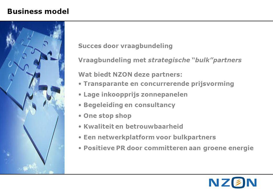 """Succes door vraagbundeling Vraagbundeling met strategische """"bulk""""partners Wat biedt NZON deze partners: • Transparante en concurrerende prijsvorming •"""