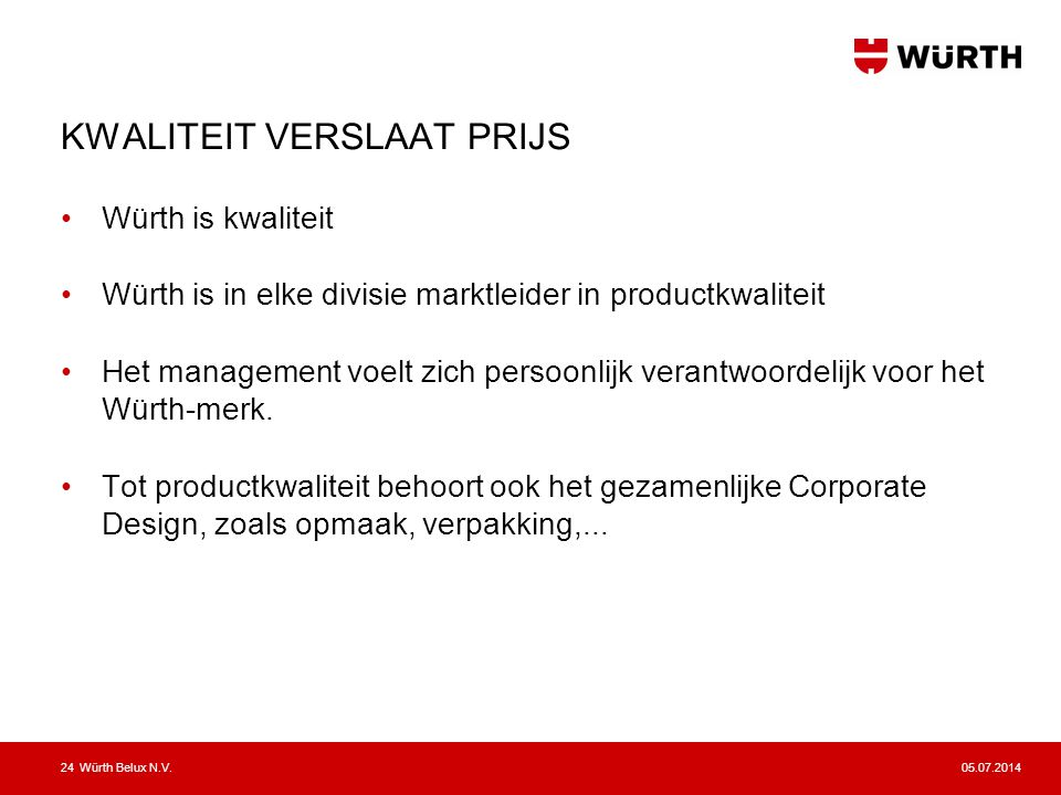 05.07.2014Würth Belux N.V.25 ISO 9001:2008