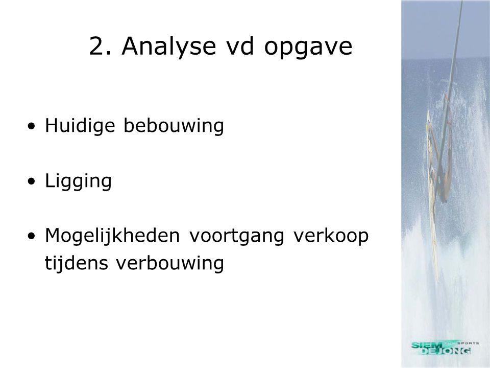 2. Analyse vd opgave •Huidige bebouwing •Ligging •Mogelijkheden voortgang verkoop tijdens verbouwing
