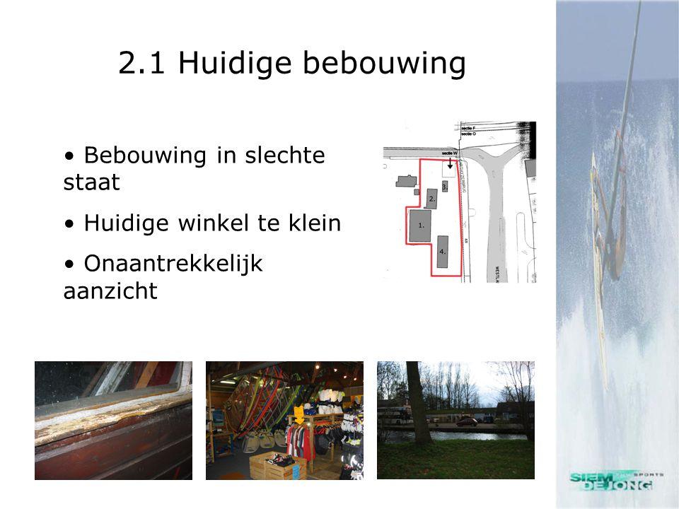 2.1 Huidige bebouwing • Bebouwing in slechte staat • Huidige winkel te klein • Onaantrekkelijk aanzicht
