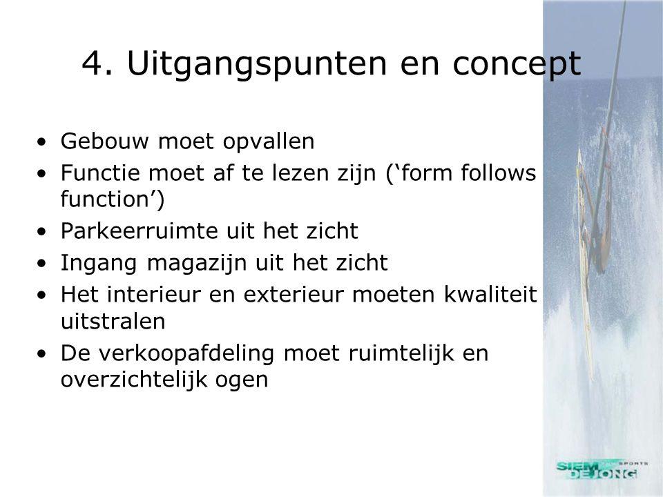 4. Uitgangspunten en concept •Gebouw moet opvallen •Functie moet af te lezen zijn ('form follows function') •Parkeerruimte uit het zicht •Ingang magaz