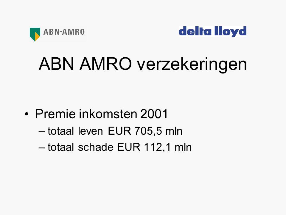 ABN AMRO verzekeringen •Premie inkomsten 2001 –totaal leven EUR 705,5 mln –totaal schade EUR 112,1 mln