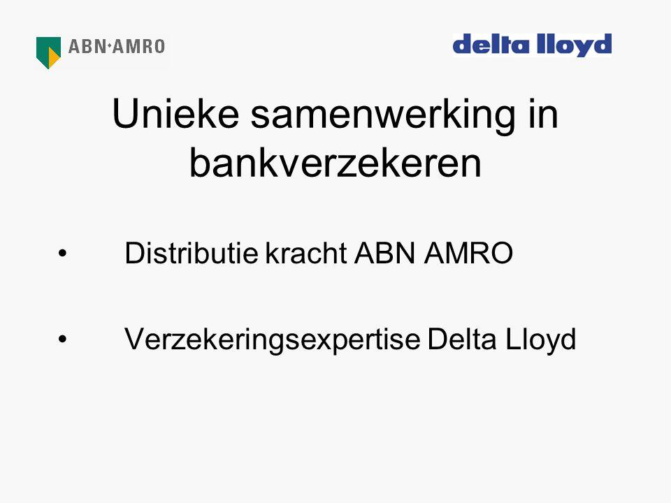 Unieke samenwerking in bankverzekeren •Distributie kracht ABN AMRO •Verzekeringsexpertise Delta Lloyd