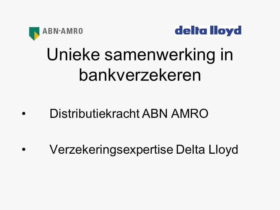 Unieke samenwerking in bankverzekeren •Distributiekracht ABN AMRO •Verzekeringsexpertise Delta Lloyd