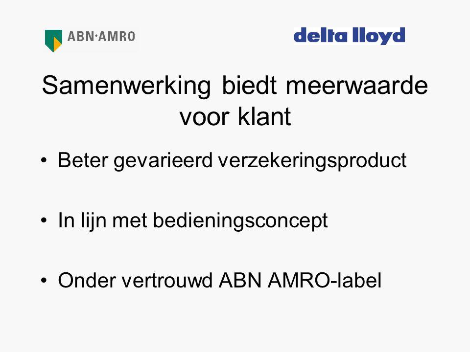 Samenwerking biedt meerwaarde voor klant •Beter gevarieerd verzekeringsproduct •In lijn met bedieningsconcept •Onder vertrouwd ABN AMRO-label