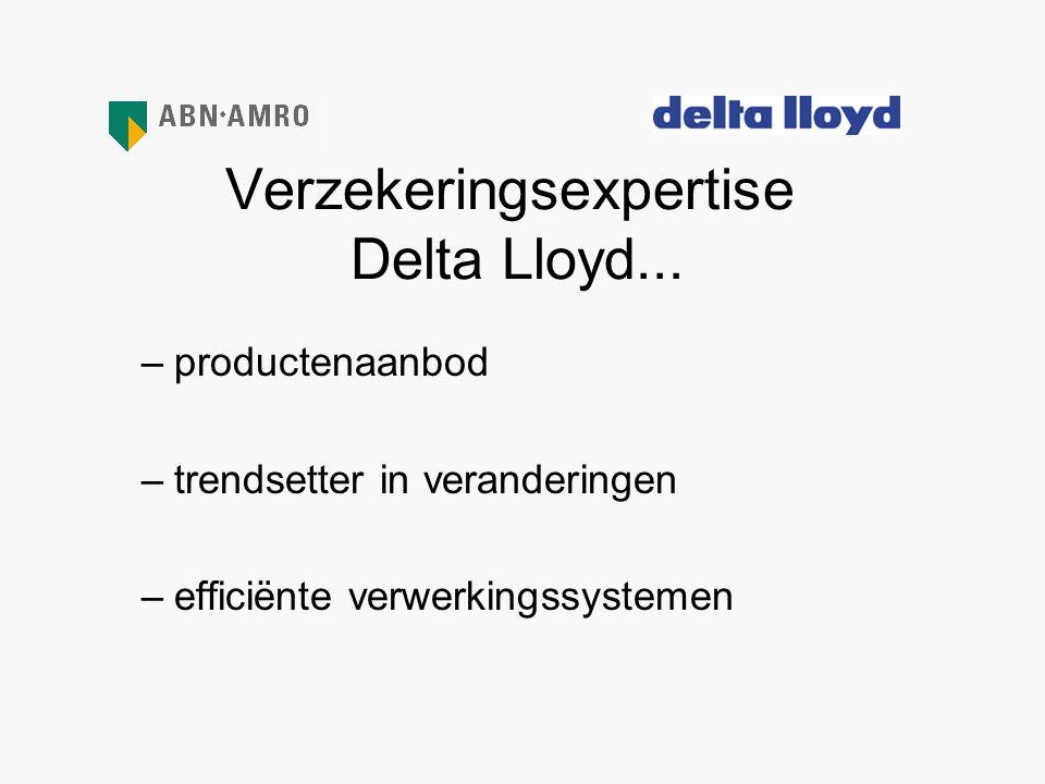 Verzekeringsexpertise Delta Lloyd... –productenaanbod –trendsetter in veranderingen –efficiënte verwerkingssystemen