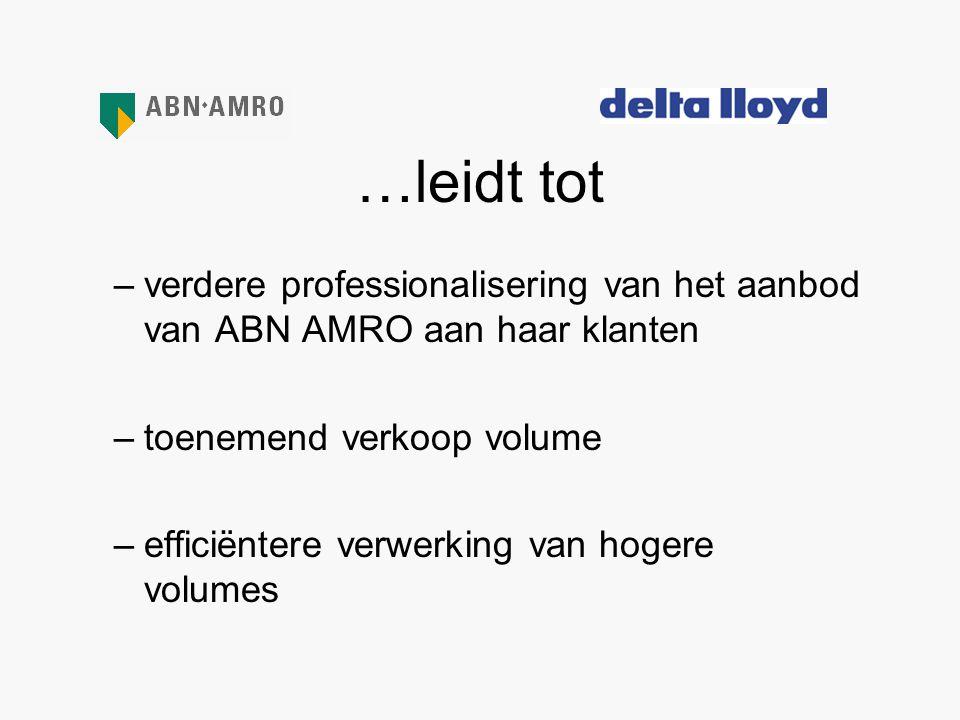 …leidt tot –verdere professionalisering van het aanbod van ABN AMRO aan haar klanten –toenemend verkoop volume –efficiëntere verwerking van hogere vol