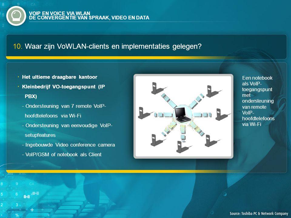 10. Waar zijn VoWLAN-clients en implementaties gelegen.