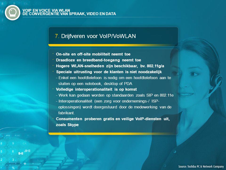 7. Drijfveren voor VoIP/VoWLAN On-site en off-site mobiliteit neemt toe Draadloze en breedband-toegang neemt toe Hogere WLAN-snelheden zijn beschikbaa