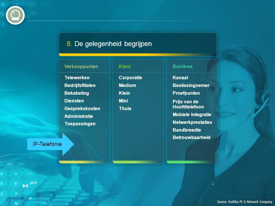 8. De gelegenheid begrijpen Verkooppunten Telewerken Bedrijfsfilialen Bekabeling Diensten Gesprekskosten Administratie Toepassingen Barrières Kanaal B