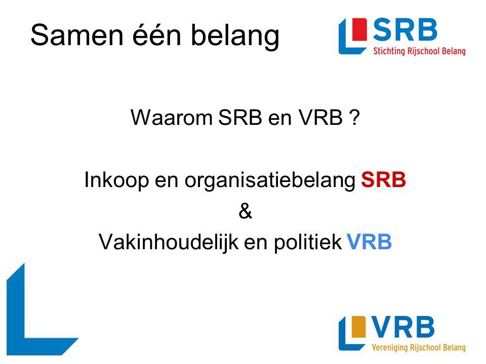Samen één belang Waarom SRB en VRB ? Inkoop en organisatiebelang SRB & Vakinhoudelijk en politiek VRB