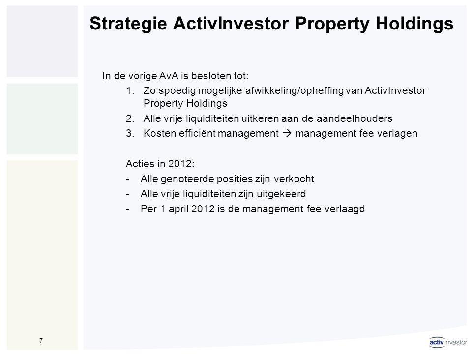 8 Vooruitzichten 2013 •Geen herstel van (vastgoed) markten waar ActivInvestor Property Holdings actief is.